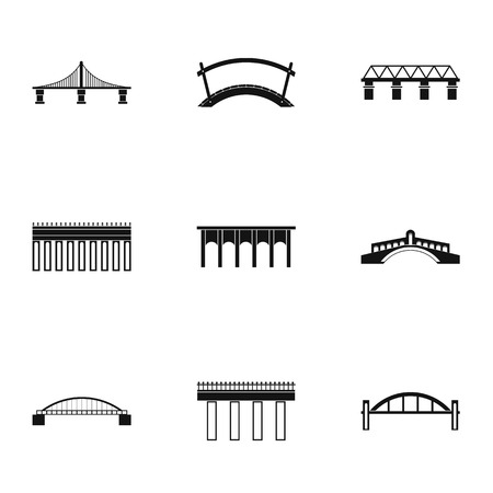 Bridge icons set. Simple illustration of 9 bridge icons for web Vectores