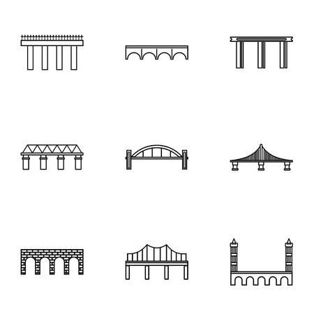 Crossing river icons set. Outline illustration of 9 crossing river icons for web