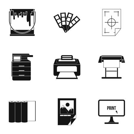 Printer icons set. Simple illustration of 9 printer icons for web
