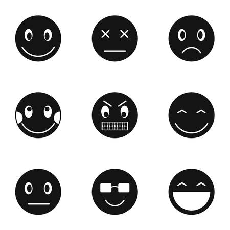 Types of emoticons icons set. Simple illustration of 9 types of emoticons vector icons for web Ilustração