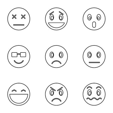 brooding: Emoticons for chatting icons set. Outline illustration of 9 emoticons for chatting vector icons for web