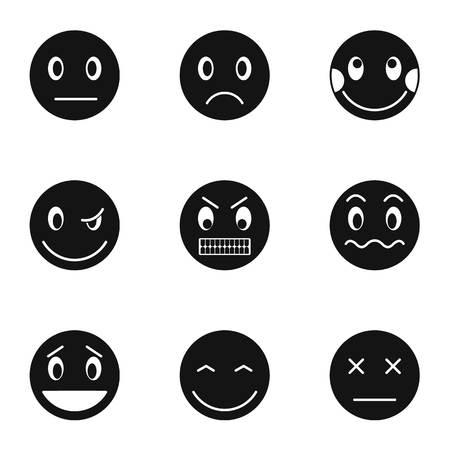 Emoticons for chatting icons set. Simple illustration of 9 emoticons for chatting vector icons for web Ilustração