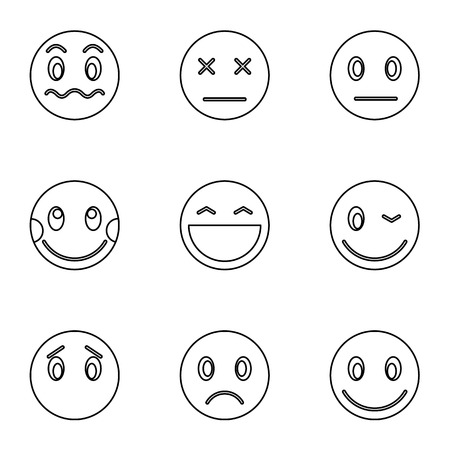 embarrassment: Types of emoticons icons set. Outline illustration of 9 types of emoticons vector icons for web