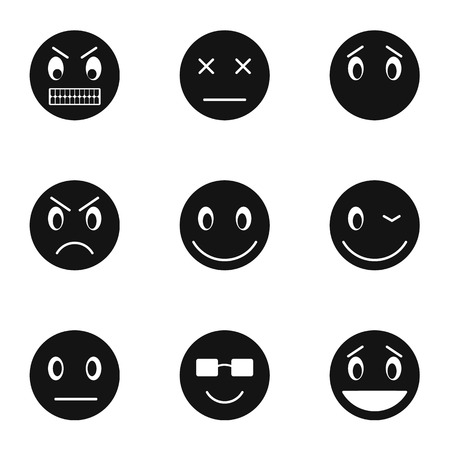 brooding: Emoticons for messages icons set. Simple illustration of 9 emoticons for messages vector icons for web