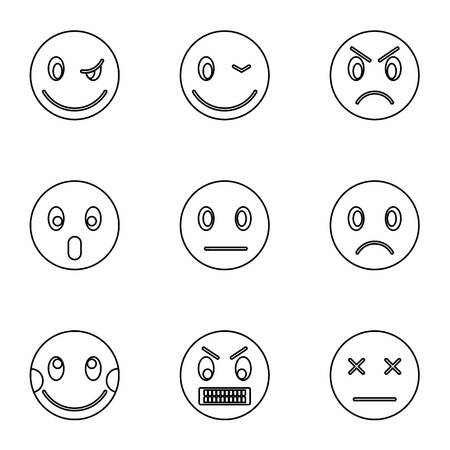 Emoticons icons set. Outline illustration of 9 emoticons vector icons for web