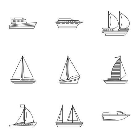 Jachtpictogrammen ingesteld. Overzicht illustratie van 9 jacht vector iconen voor web