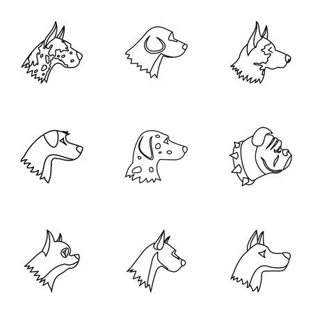 faithful: Faithful friend dog icons set. Outline illustration of 9 faithful friend dog vector icons for web