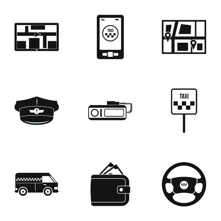 fare: Call taxi icons set. Simple illustration of 9 call taxi vector icons for web