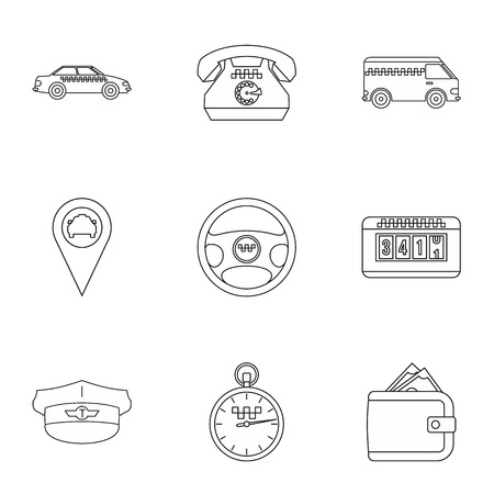 fare: Taxi custom icons set. Outline illustration of 9 taxi custom vector icons for web