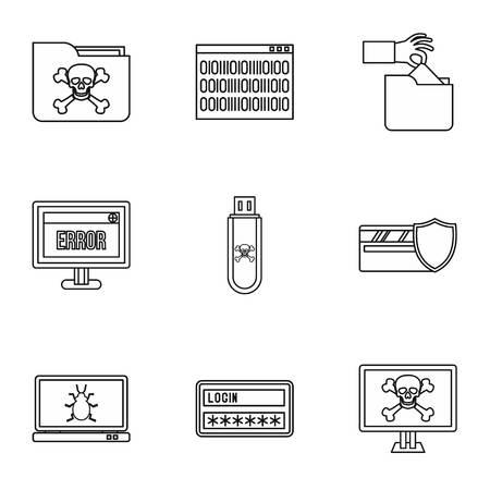 viruses: Viruses icons set. Outline illustration of 9 viruses vector icons for web Illustration