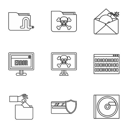ddos: Ddos attack icons set. Outline illustration of 9 ddos attack vector icons for web