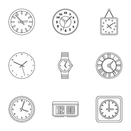 dimension: Time dimension icons set. Outline illustration of 9 time dimension vector icons for web