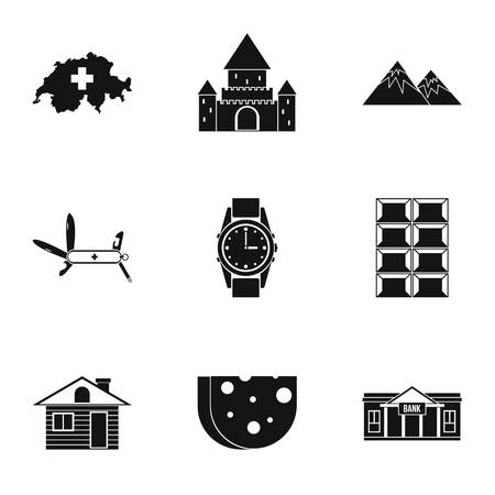 swiss alps: Holiday in Switzerland icons set. Simple illustration of 9 holiday in Switzerland vector icons for web