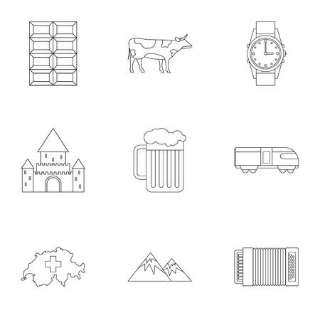 swiss alps: Country Switzerland icons set. Outline illustration of 9 country Switzerland vector icons for web