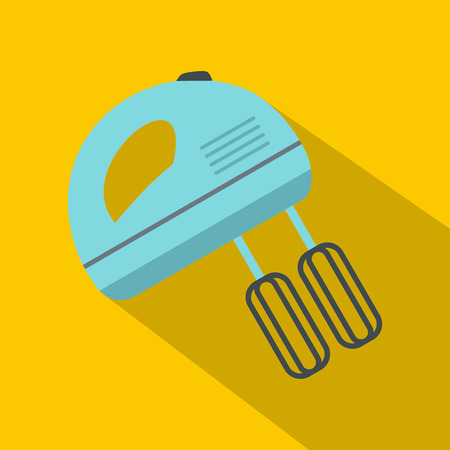 Blue electric mixer icon. Flat illustration of electric mixer vector icon for web isolated on yellow background
