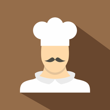 Cook icon. Flat illustration of cook vector icon for web isolated on coffee background Illustration