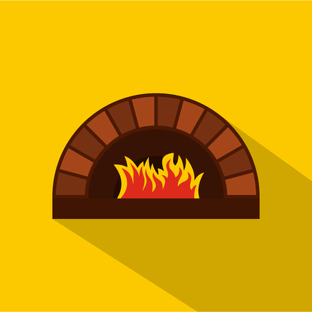 Brick pizza oven with fire icon. Flat illustration of brick pizza oven with fire vector icon for web isolated on yellow background