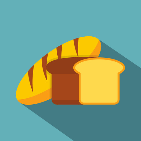 crusty: Fresh bread icon. Flat illustration of fresh bread vector icon for web isolated on baby blue background