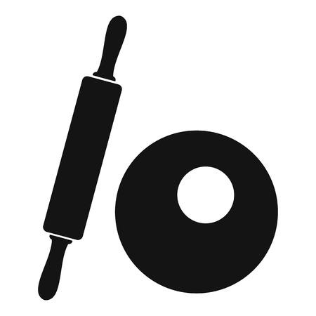 めん棒や生地のアイコン。めん棒や web の生地ベクトル アイコンを単純な図 写真素材 - 68629047