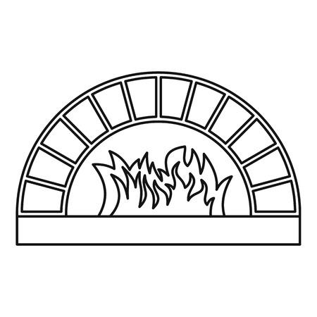Leña ícono del horno. Ilustración del esquema de la leña del vector del icono del horno para la web