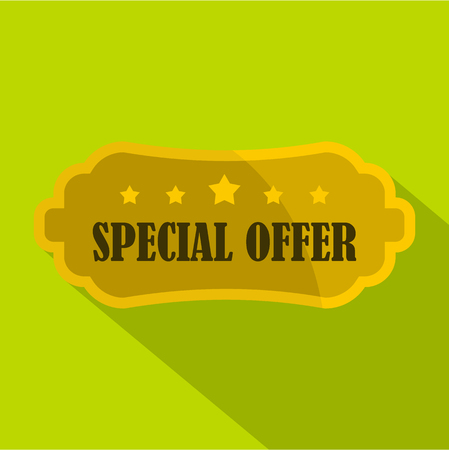 choise: Golden special offer label icon. Flat illustration of golden special offer label vector icon for web isolated on green background Illustration