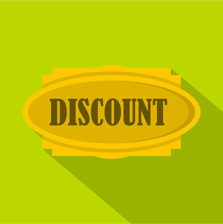 Discount label icon. Flat illustration of discount label vector icon for web isolated on green background