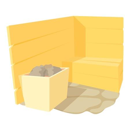steam bath: Sauna icon. Cartoon illustration of sauna vector icon for web