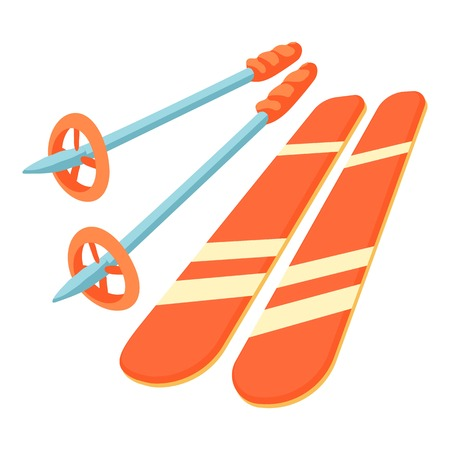 Skiing icon. Cartoon illustration of skiing vector icon for web