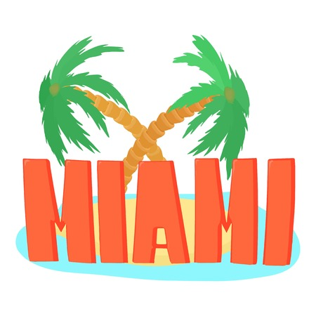 Miami palm. Cartoon illustration of firework vector  for web