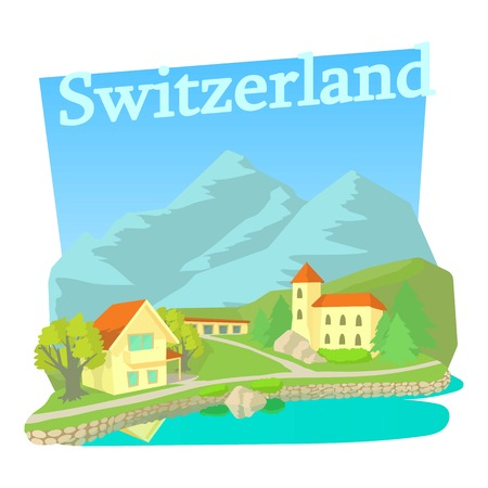 Switzerland country concept. Cartoon illustration of switzerland country vector concept for web