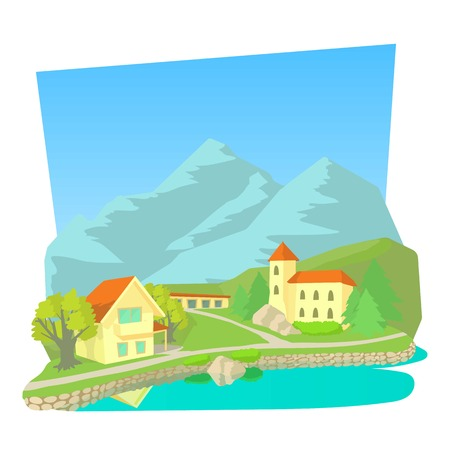 Small town icon. Cartoon illustration of small town vector icon for web Illustration