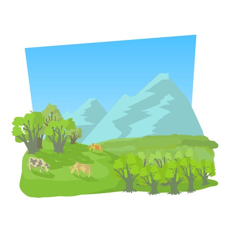 Small valley icon. Cartoon illustration of small valley vector icon for web