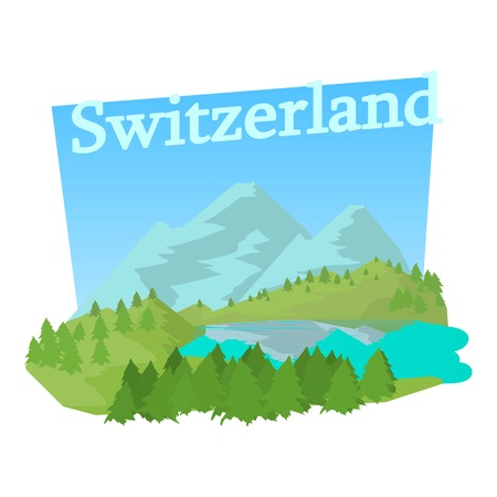 Green Switzerland icon. Cartoon illustration of green Switzerland vector icon for web Illustration
