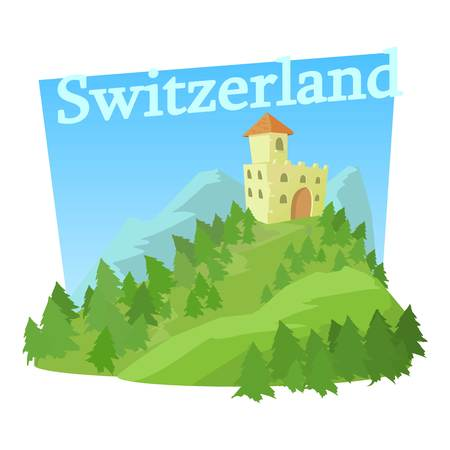 swiss alps: Switzerland castle icon. Cartoon illustration of switzerland castle vector icon for web