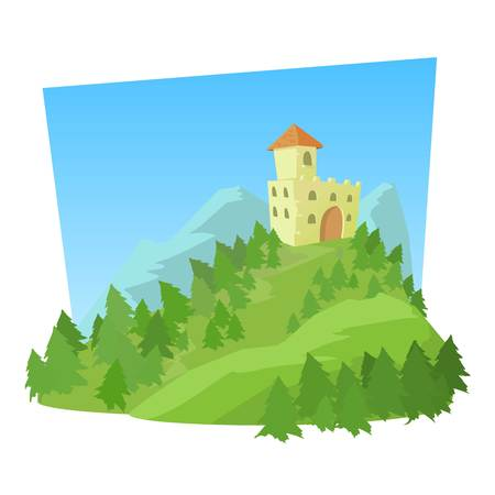Castle icon. Cartoon illustration of castle vector icon for web