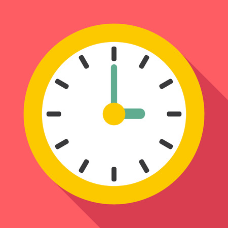 Clock icon. Flat illustration of clock vector icon for web Illustration