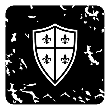 royal french lily symbols: Crest icon. Grunge illustration of crest vector icon for web Illustration