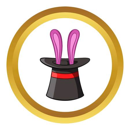 Hat with rabbit vector icon in golden circle, cartoon style isolated on white background