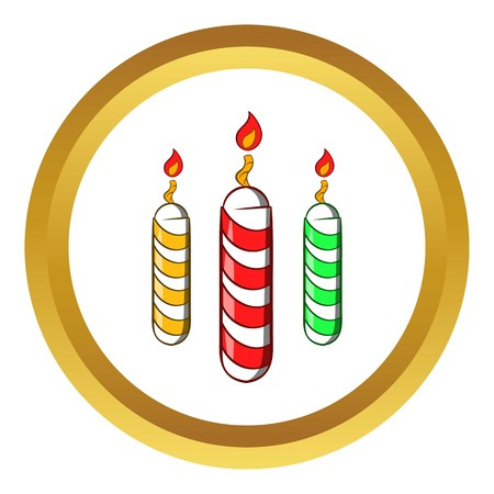 Festive candles vector icon in golden circle, cartoon style isolated on white background Illustration