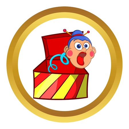 Box jumping with toy vector icon in golden circle, cartoon style isolated on white background Illustration