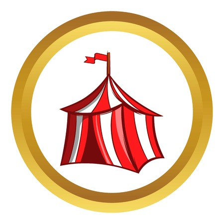 Medieval knight tent vector icon in golden circle, cartoon style isolated on white background
