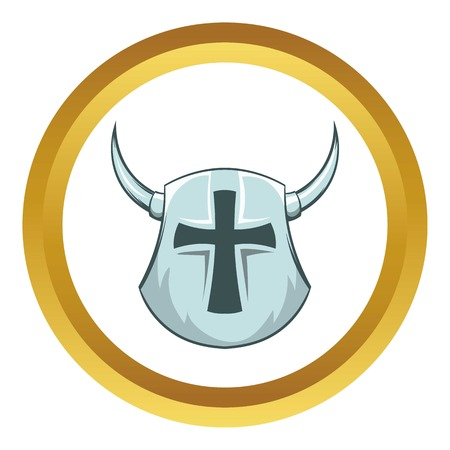 Medieval helmet vector icon in golden circle, cartoon style isolated on white background