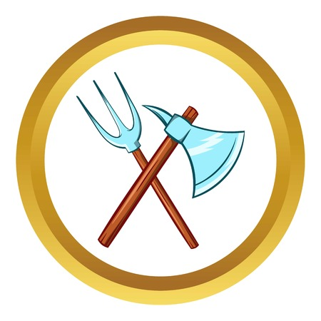 Ancient axe and trident vector icon in golden circle, cartoon style isolated on white background
