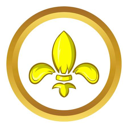 Royal lily vector icon in golden circle, cartoon style isolated on white background Illustration
