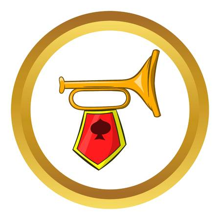 pomp: Golden trumpet with a red flag vector icon in golden circle, cartoon style isolated on white background