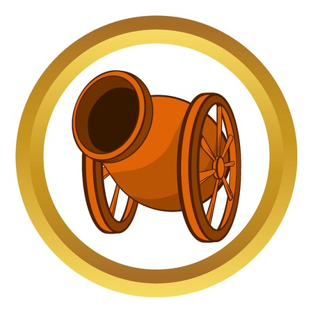Medieval cannon vector icon in golden circle, cartoon style isolated on white background
