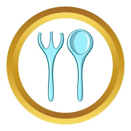 baby cutlery: Baby spoon and fork vector icon in golden circle, cartoon style isolated on white background
