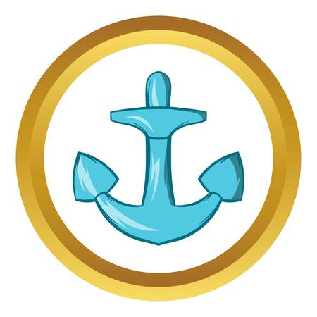 Anchor vector icon in golden circle, cartoon style isolated on white background