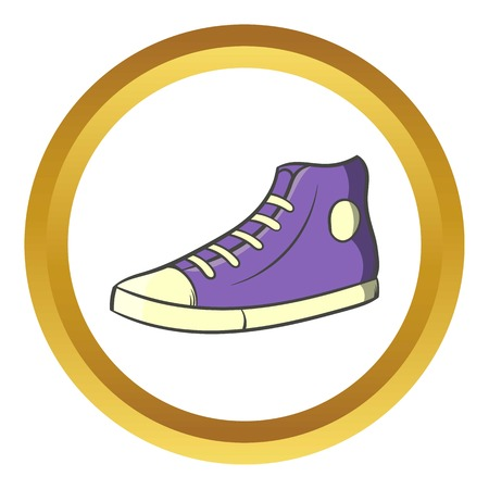 Pair of sneakers vector icon in golden circle, cartoon style isolated on white background Illustration