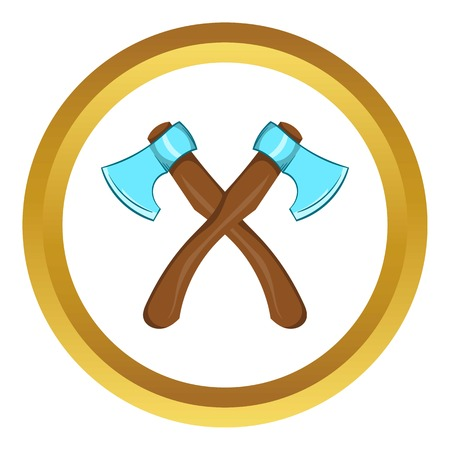 woodsman: Two crossed axes vector icon in golden circle, cartoon style isolated on white background